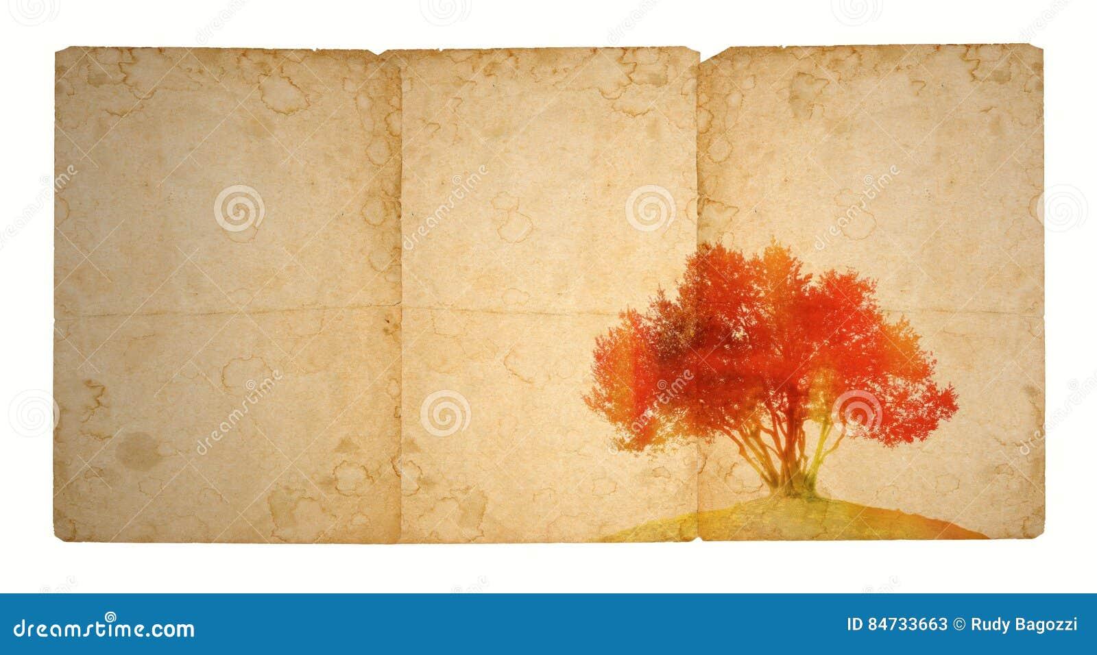 Enige boom in rode tonen op oud bevlekt document Met exemplaarruimte