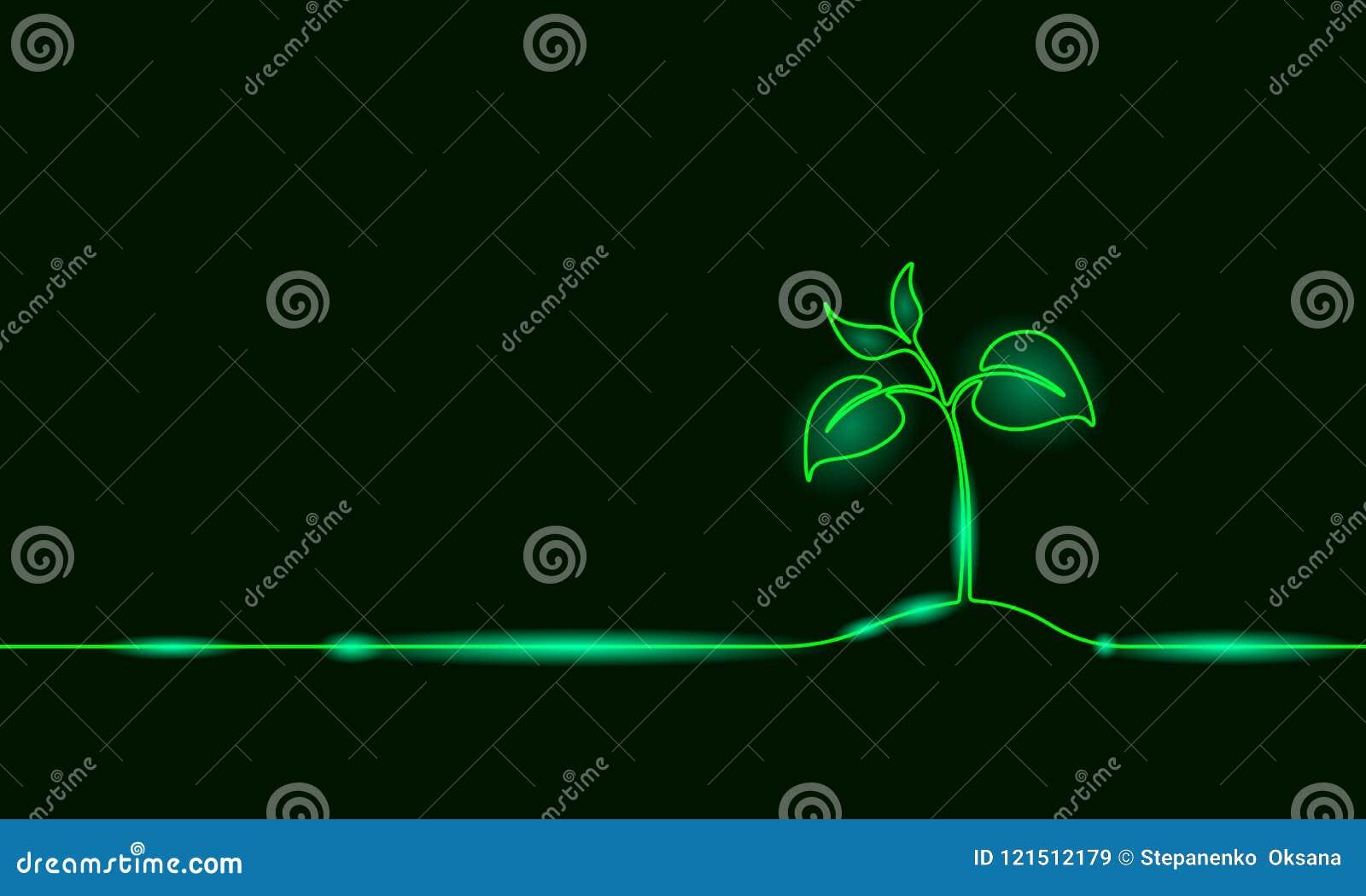 Enige ononderbroken lijnkunst het groeien spruit De installatie verlaat zaad kweekt eco van de grondzaailing natuurlijk landbouwb