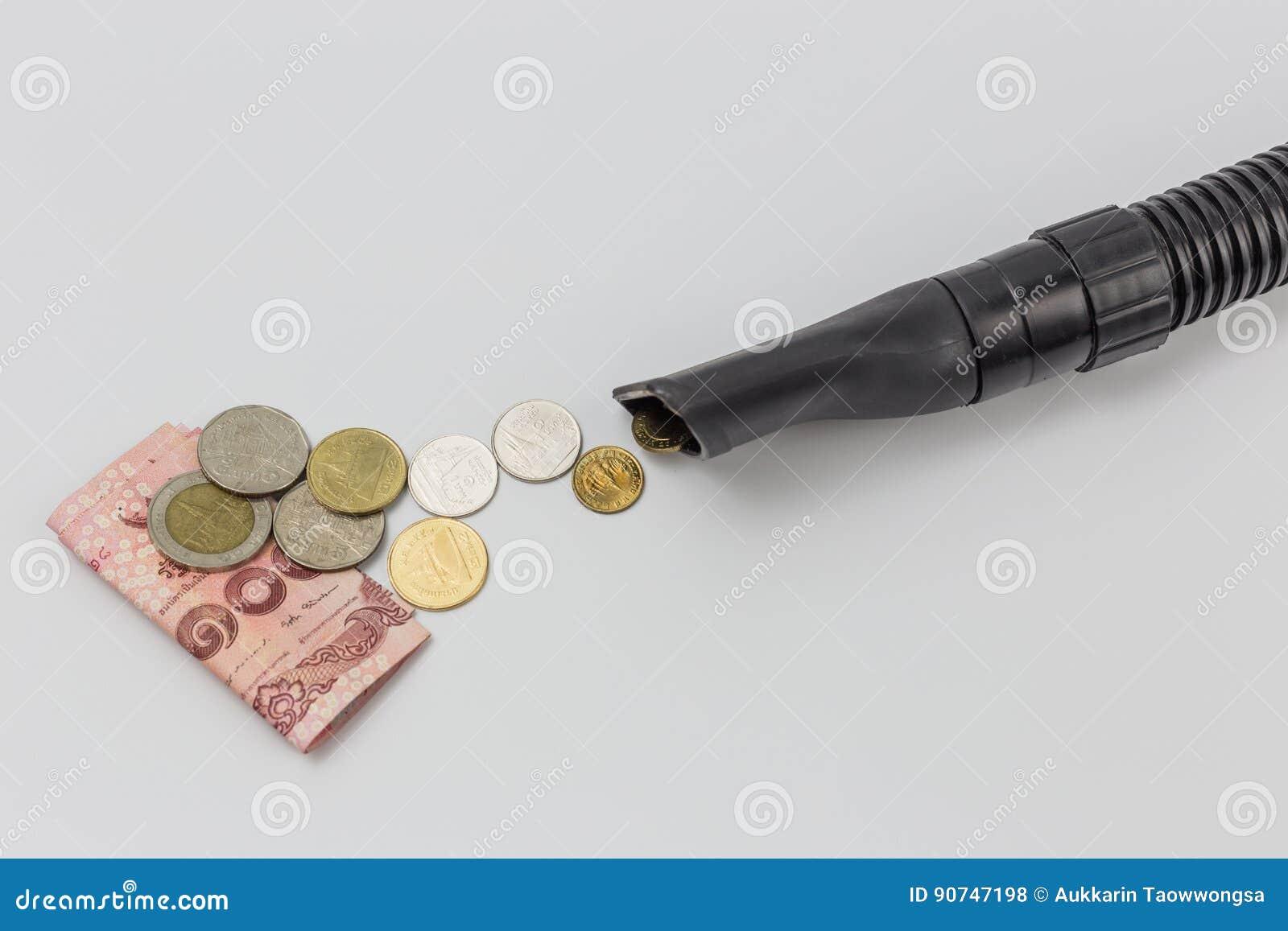 Enige stofzuigerpijp die het geld van Thailand zuigen