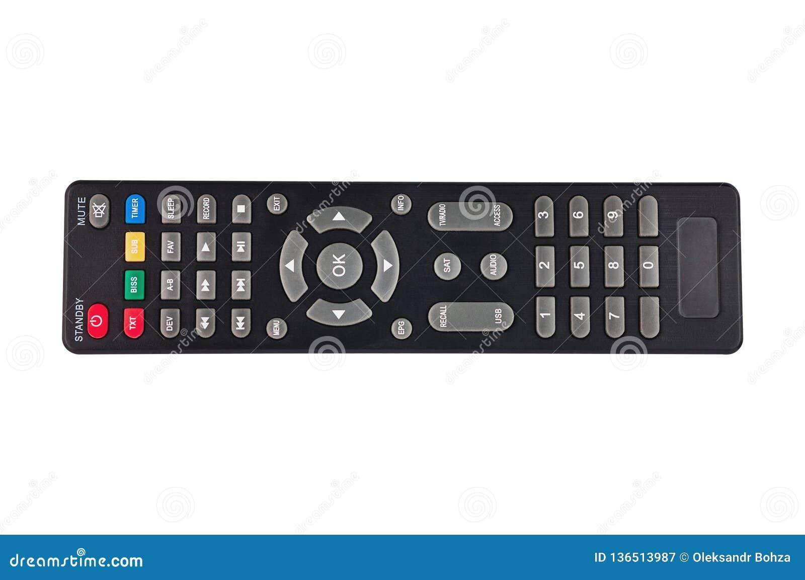 Enige zwarte plastic afstandsbediening voor verschillende apparaten van verschillende media die op witte achtergrond wordt geïsol