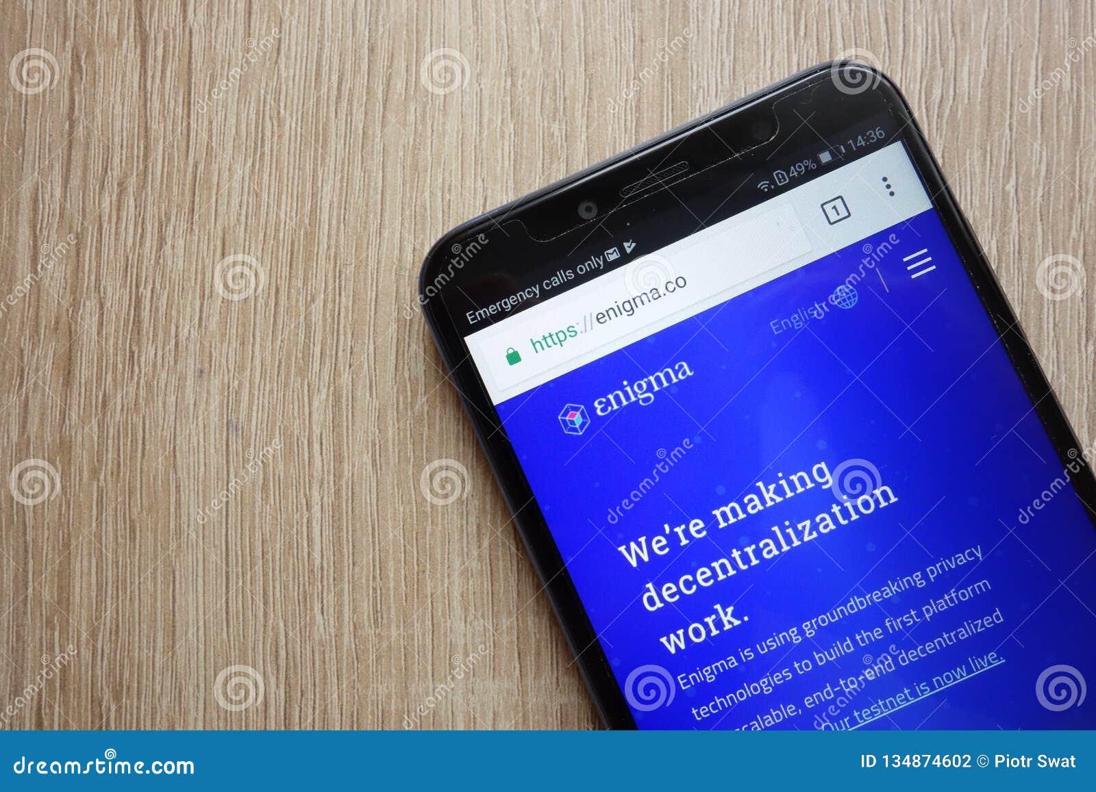 Enigma cryptocurrency ENG strona internetowa wystawiająca na Huawei Y6 2018 smartphone