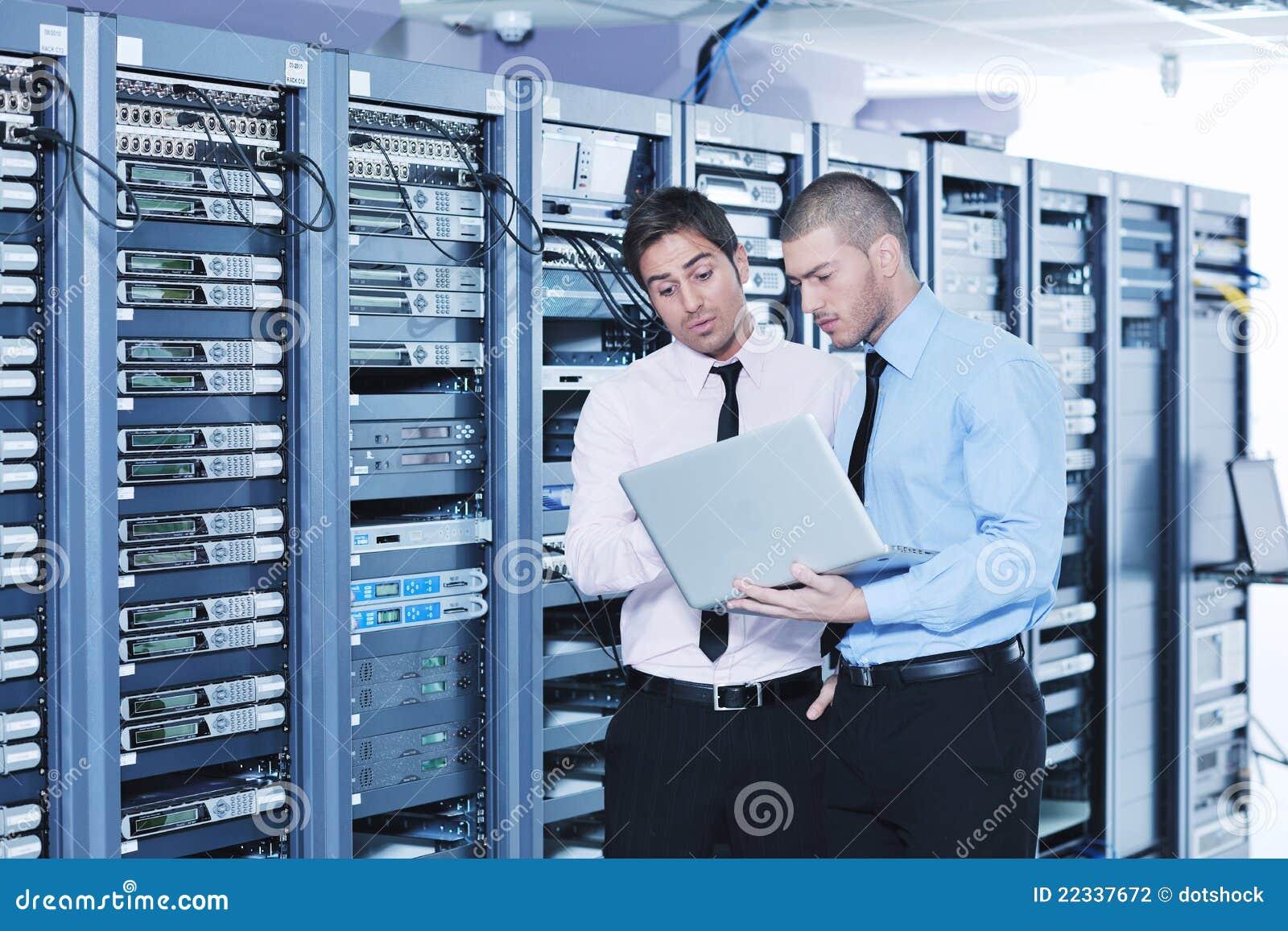 It Room: It Enineers In Network Server Room Stock Photo