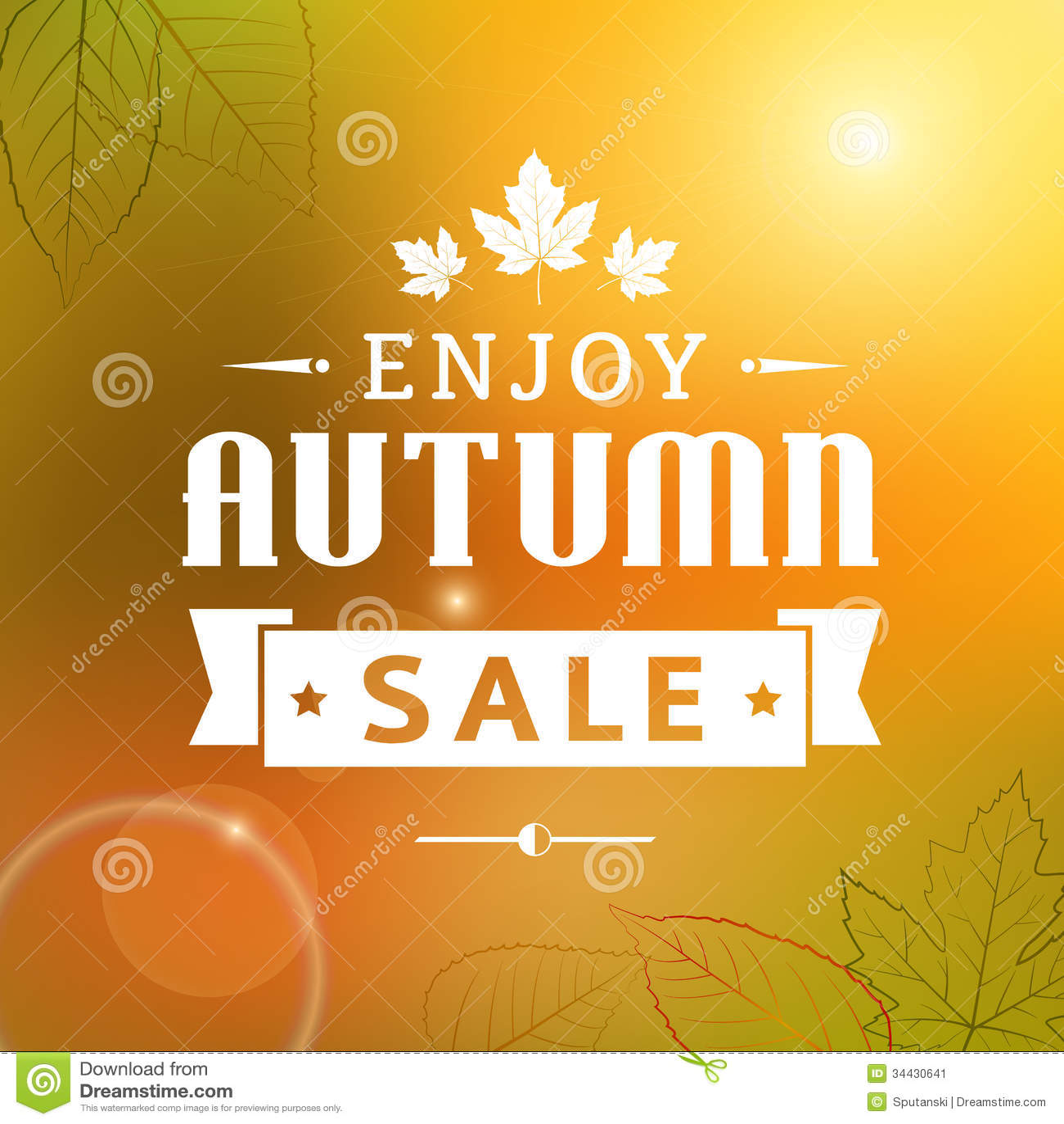 Enjoy Autumn Sale Vintage Typography Poster Stock Image