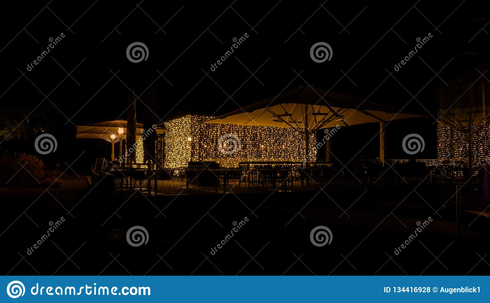 Night cafe with elegant illumination