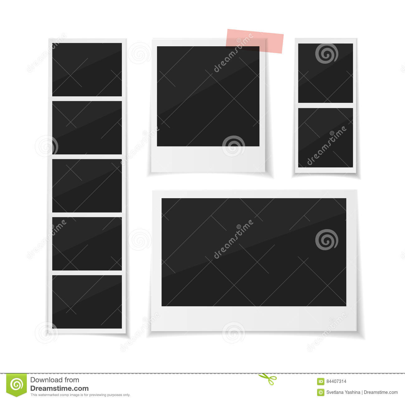 Enjoy Every Moment. Vector Set Photobooth And Photos Sticked Down ...