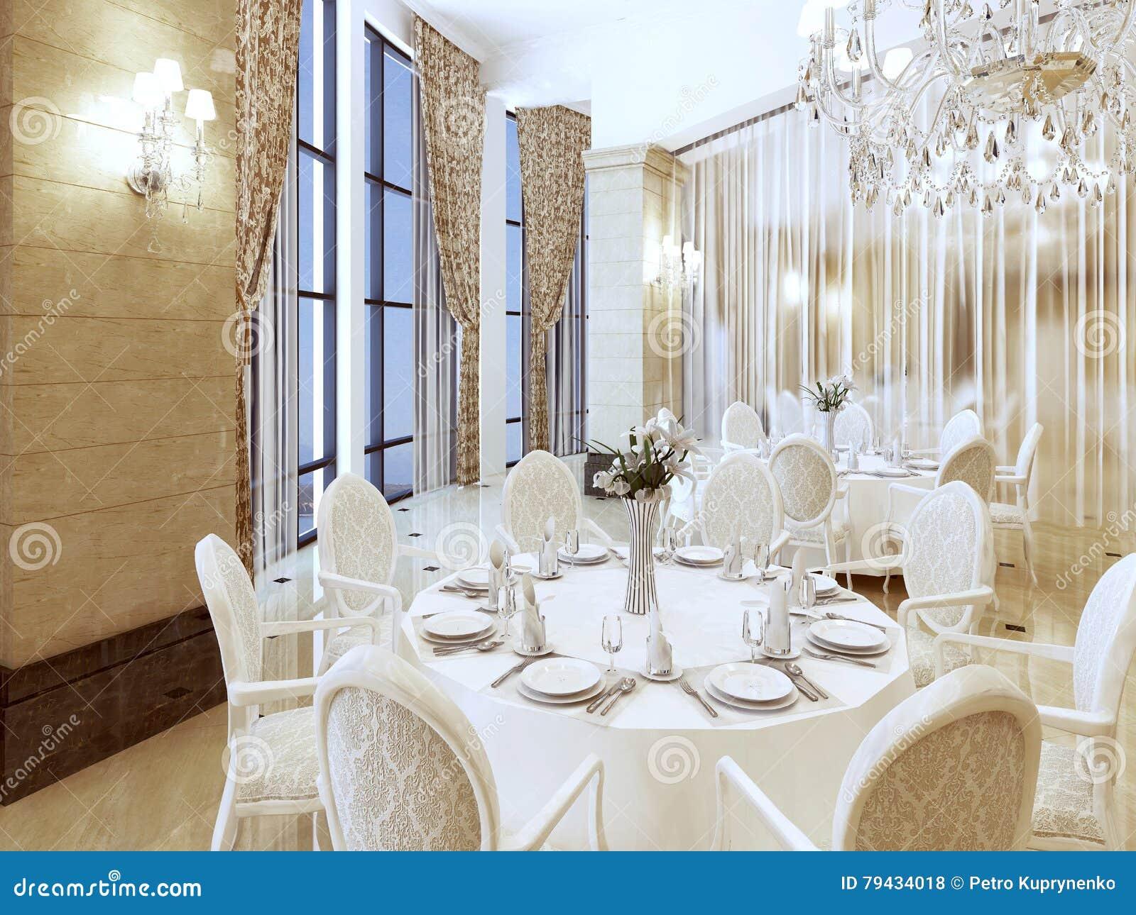 385179d2e8e Enjoy A Luxurious White Restaurant Table. Stock Illustration ...