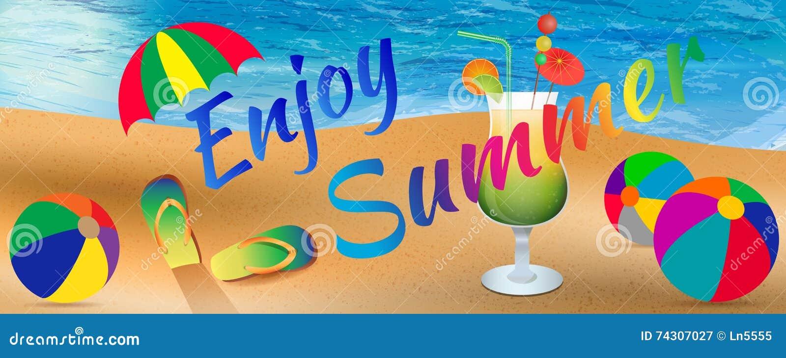 Enjoy Summer Background With Elements Of Beach, Ocean ...