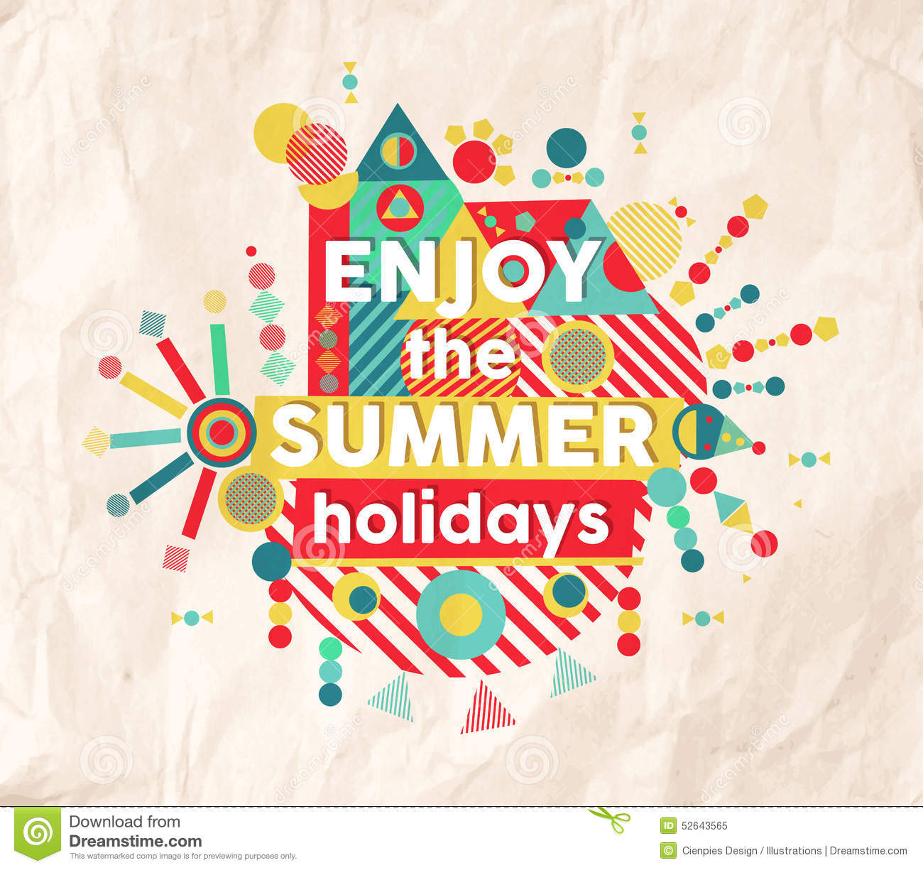 Enjoy Summer Fun Quote Poster Design Illustration 52643565