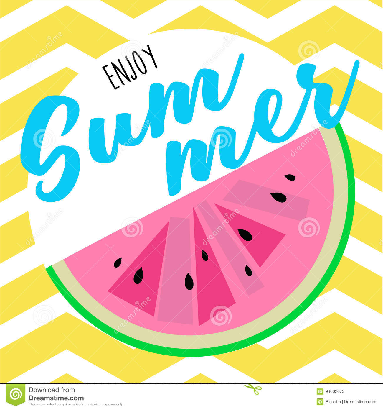 enjoy summer graphic template with watermelon stock vector