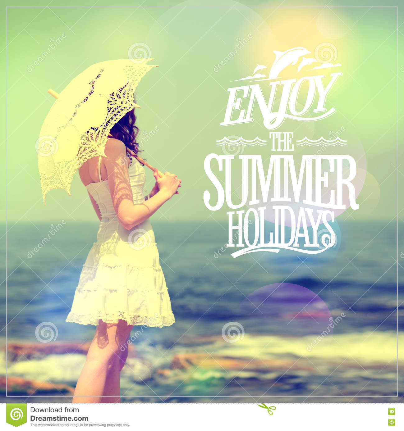 Enjoy The Summer Holidays Quote Card With Girl In White ...