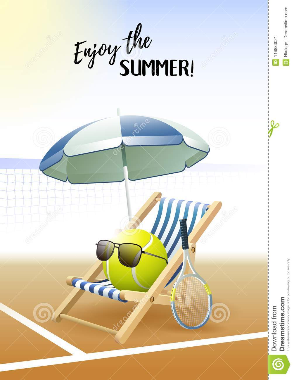 f706746f85b Enjoy The Summer! Sports Card. Tennis Ball With Sunglasses