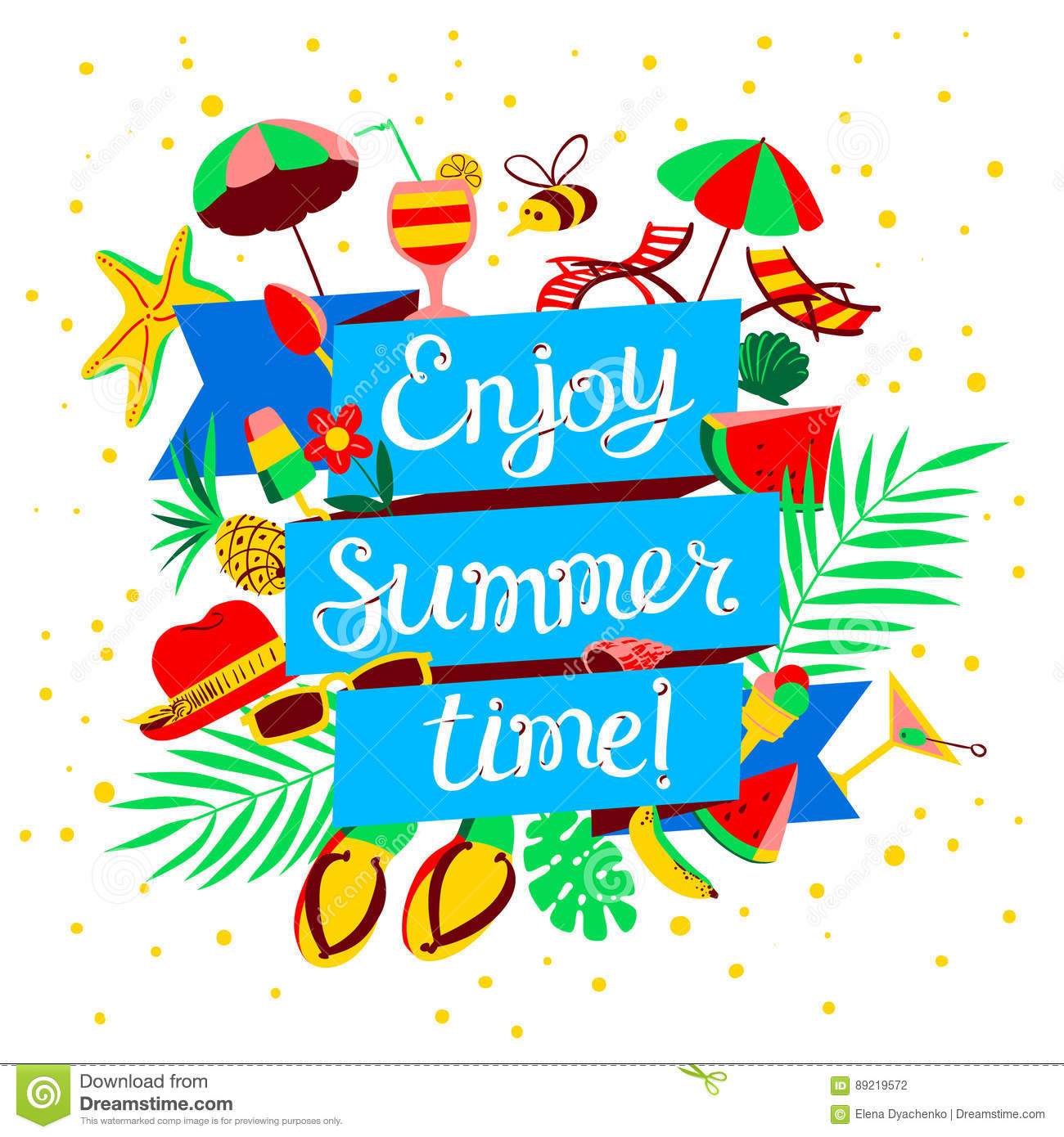 enjoy summer time lettering beach holidays banner with summer o rh dreamstime com holiday party banner clip art