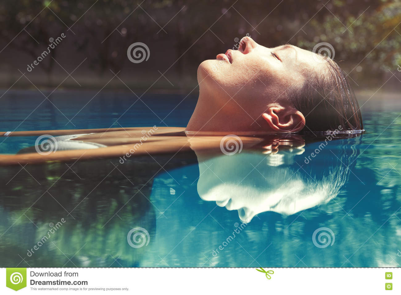 Download Enjoy The Summer. Woman Relaxing In The Pool Water Stock Image - Image of bathe, calm: 75594927