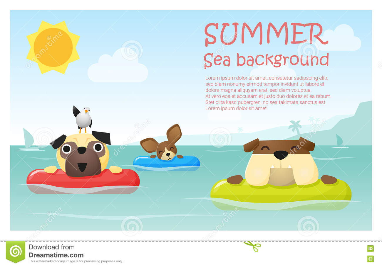 Enjoy Tropical Summer Holidays Backgrounds Vector 04 Free: Enjoy Tropical Summer Holiday With Little Dog Stock Vector