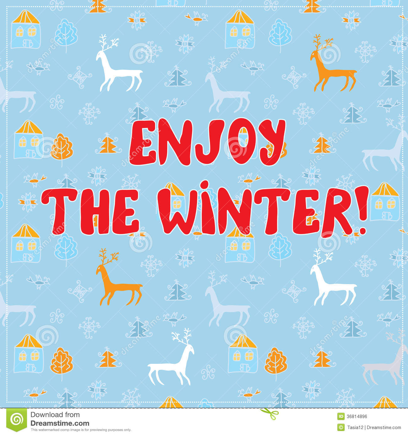 Enjoy Winter Funny Background Design With Pattern