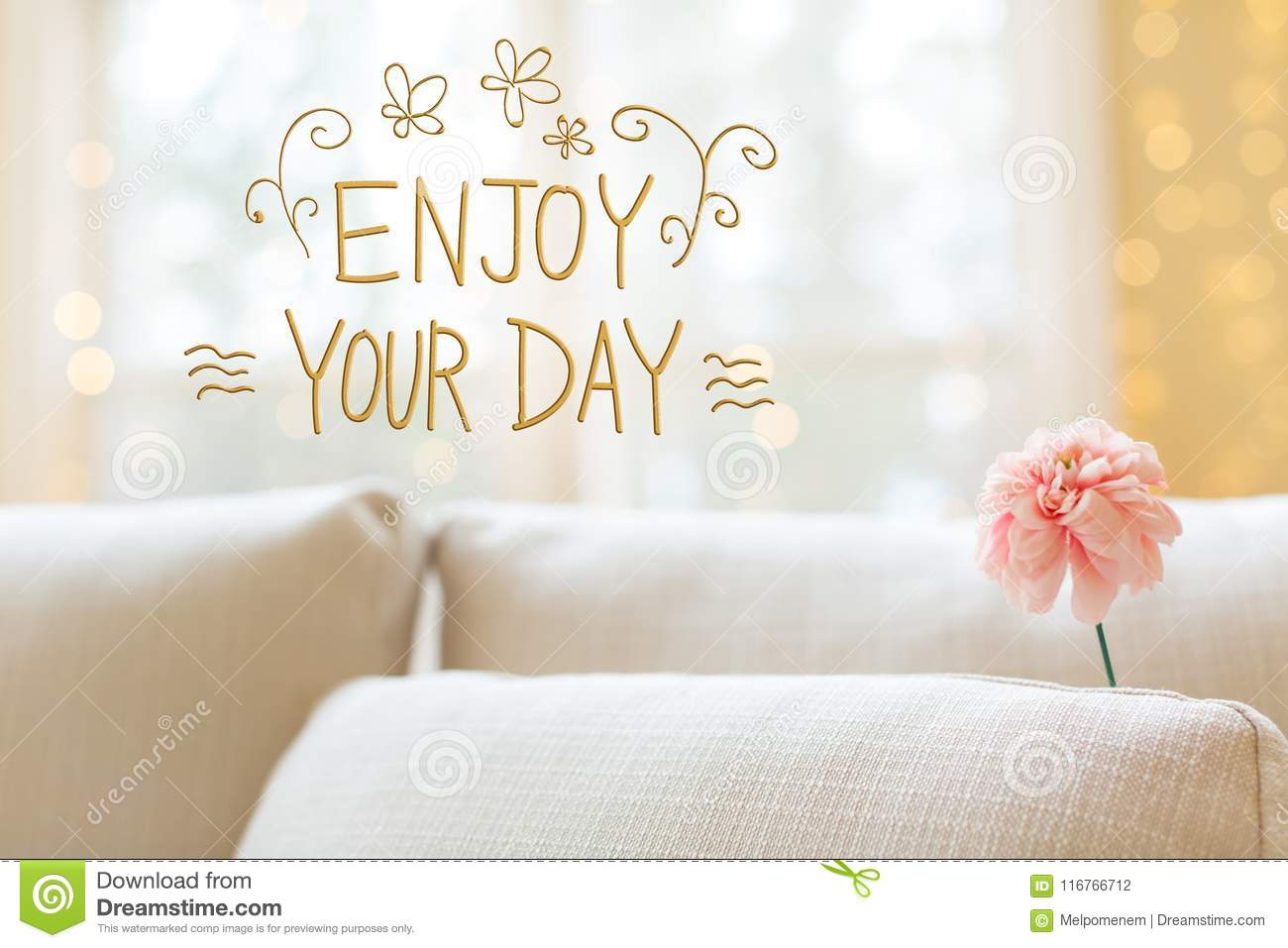 Enjoy Your Day Message With Flower In Interior Room Sofa