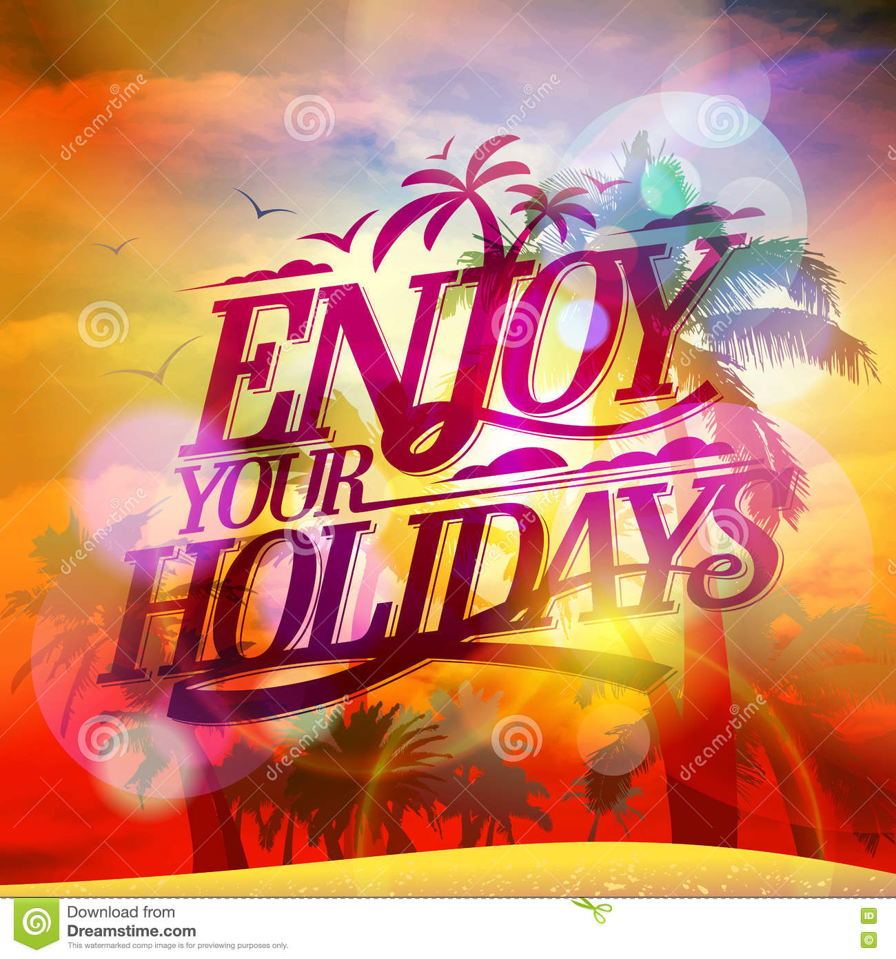 Enjoy Your Holidays Quote Card Sunset View