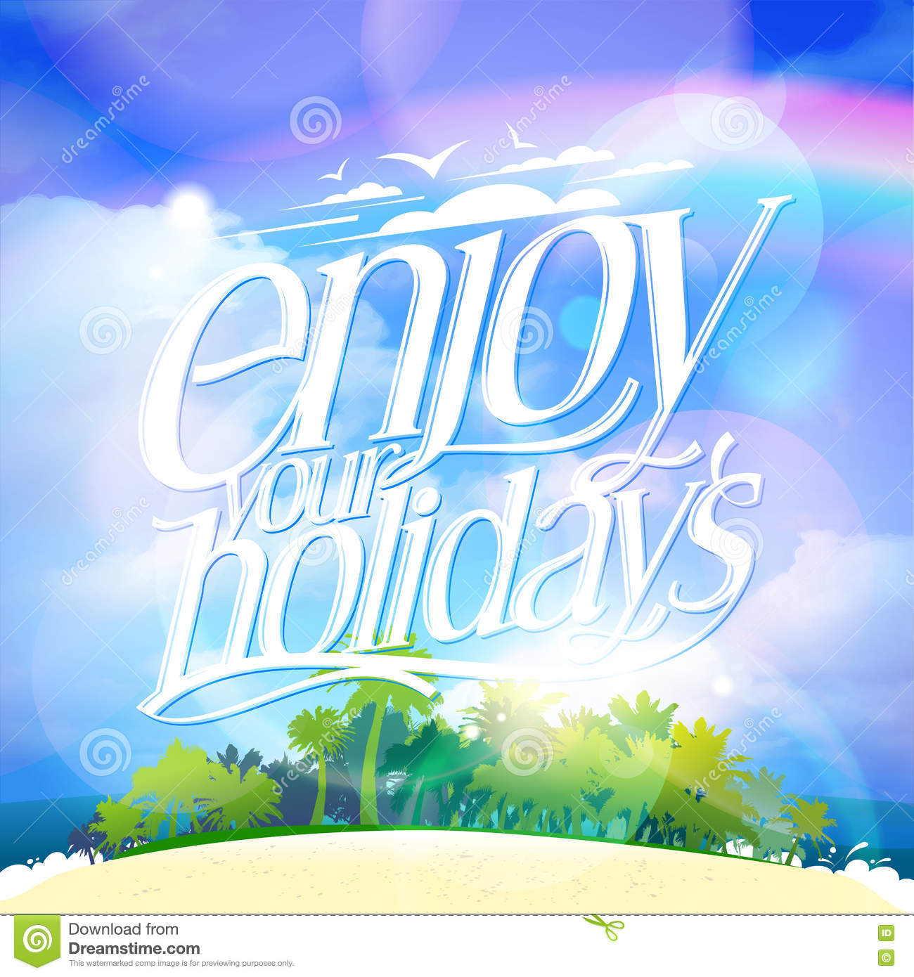 Enjoy Your Holidays Quote Card With Tropical Island Royalty Free Stock Image