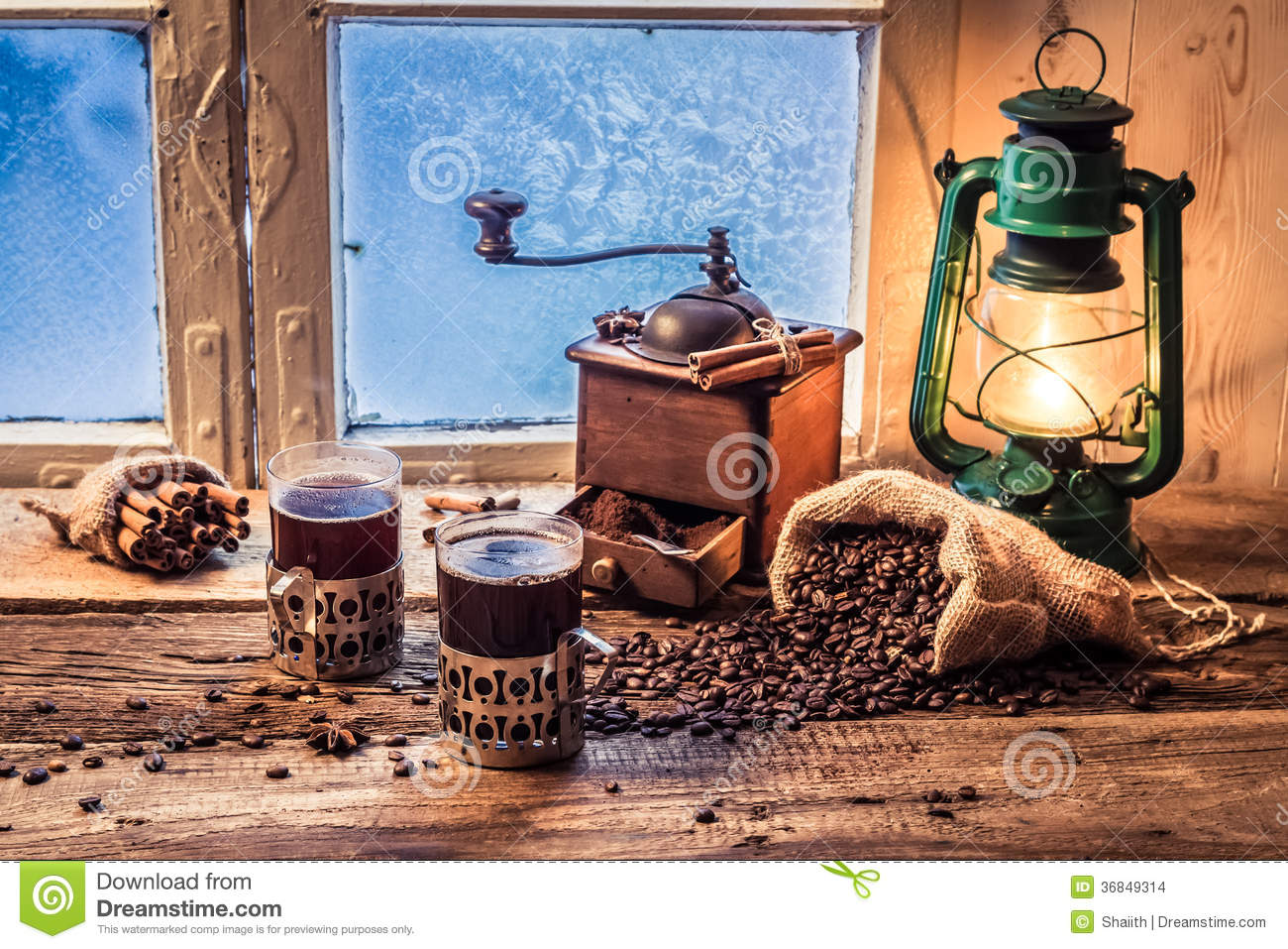 Enjoy Your Hot Coffee In Cold Day Stock Photo - Image ...