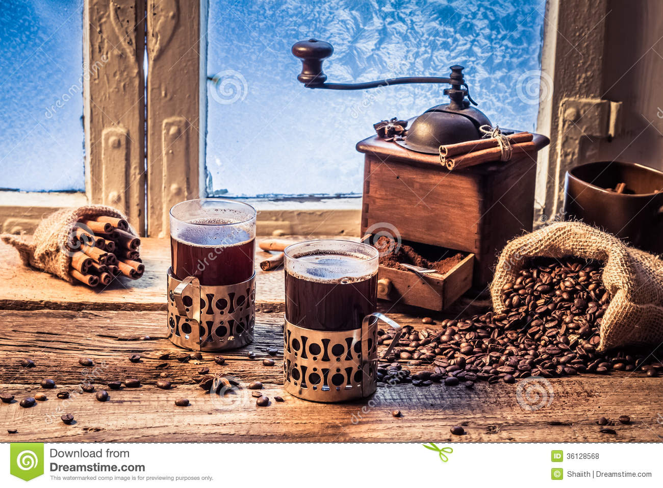Enjoy Your Hot Coffee In Winter Day Royalty Free Stock