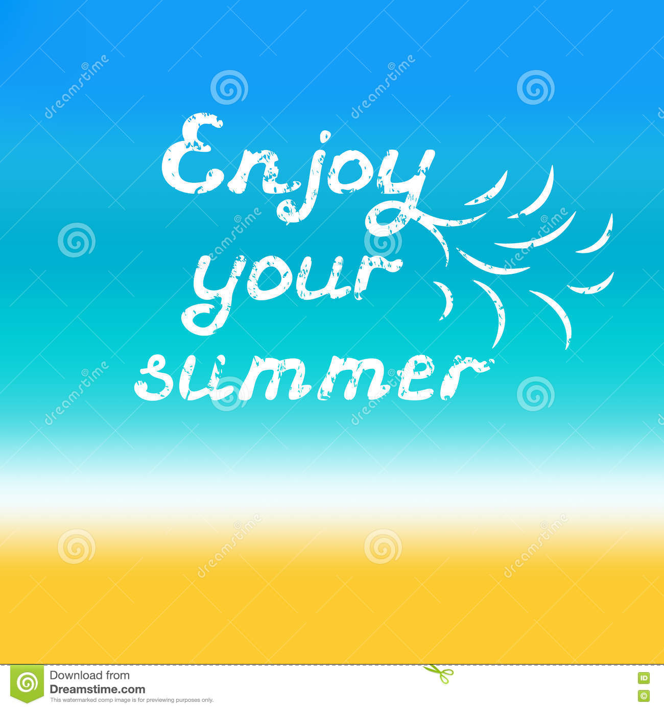 enjoy your summer hand lettering calligraphy grunge style quote