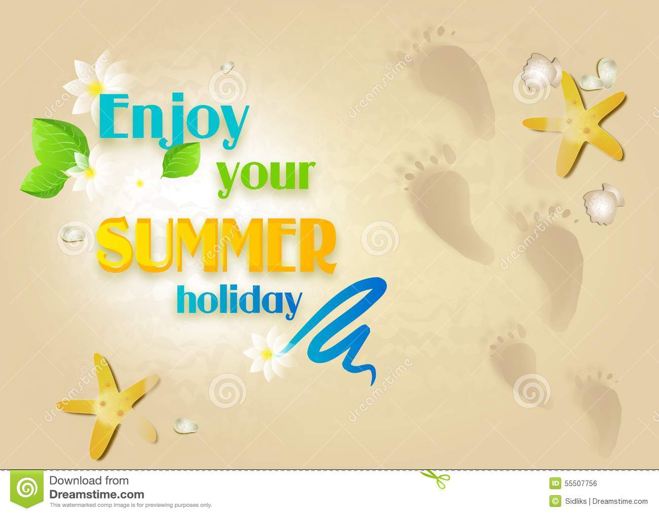 Enjoy Tropical Summer Holidays Backgrounds Vector 04 Free: Enjoy Your Summer Holiday Stock Illustration