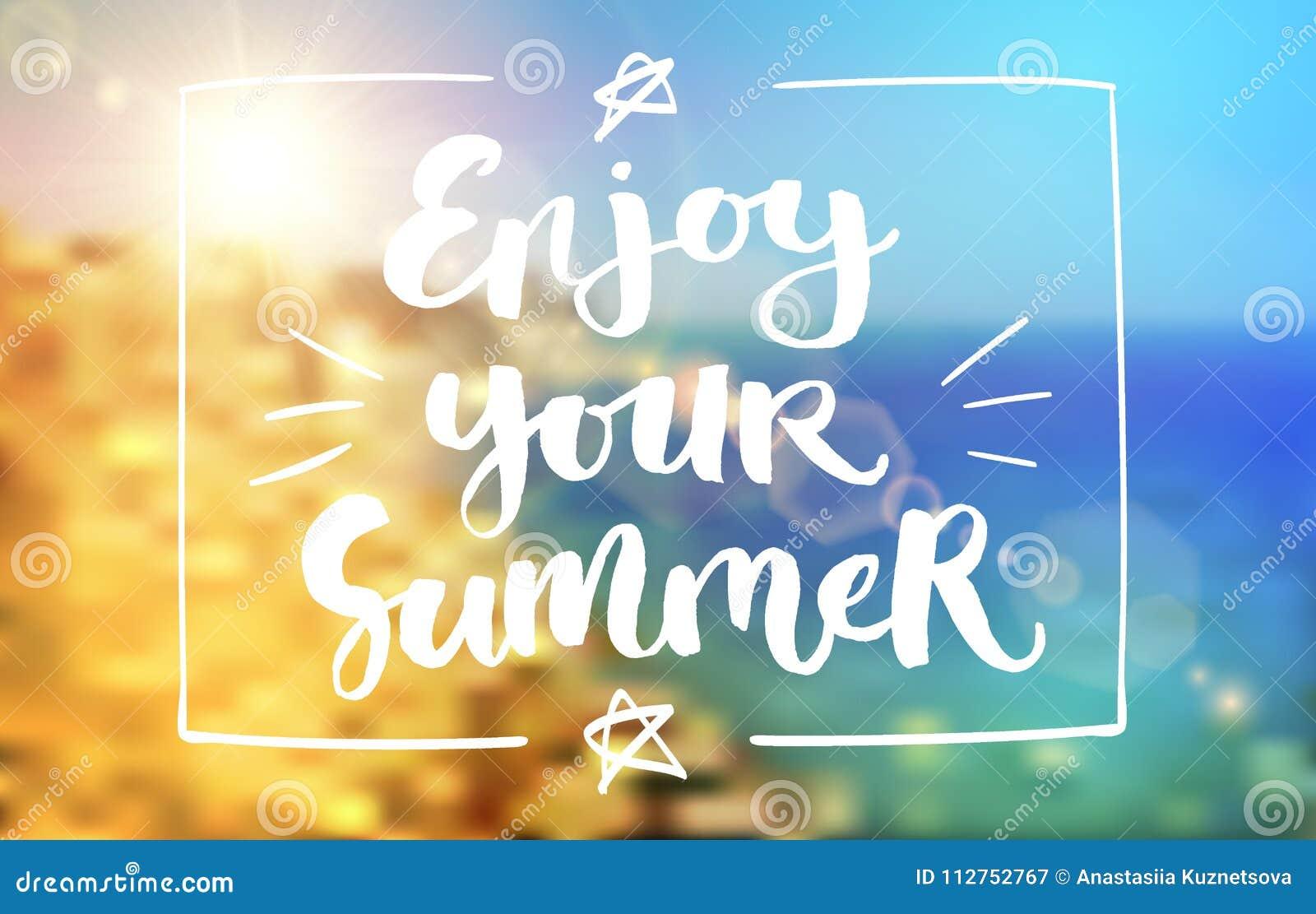enjoy your summer lettering poster stock illustration illustration