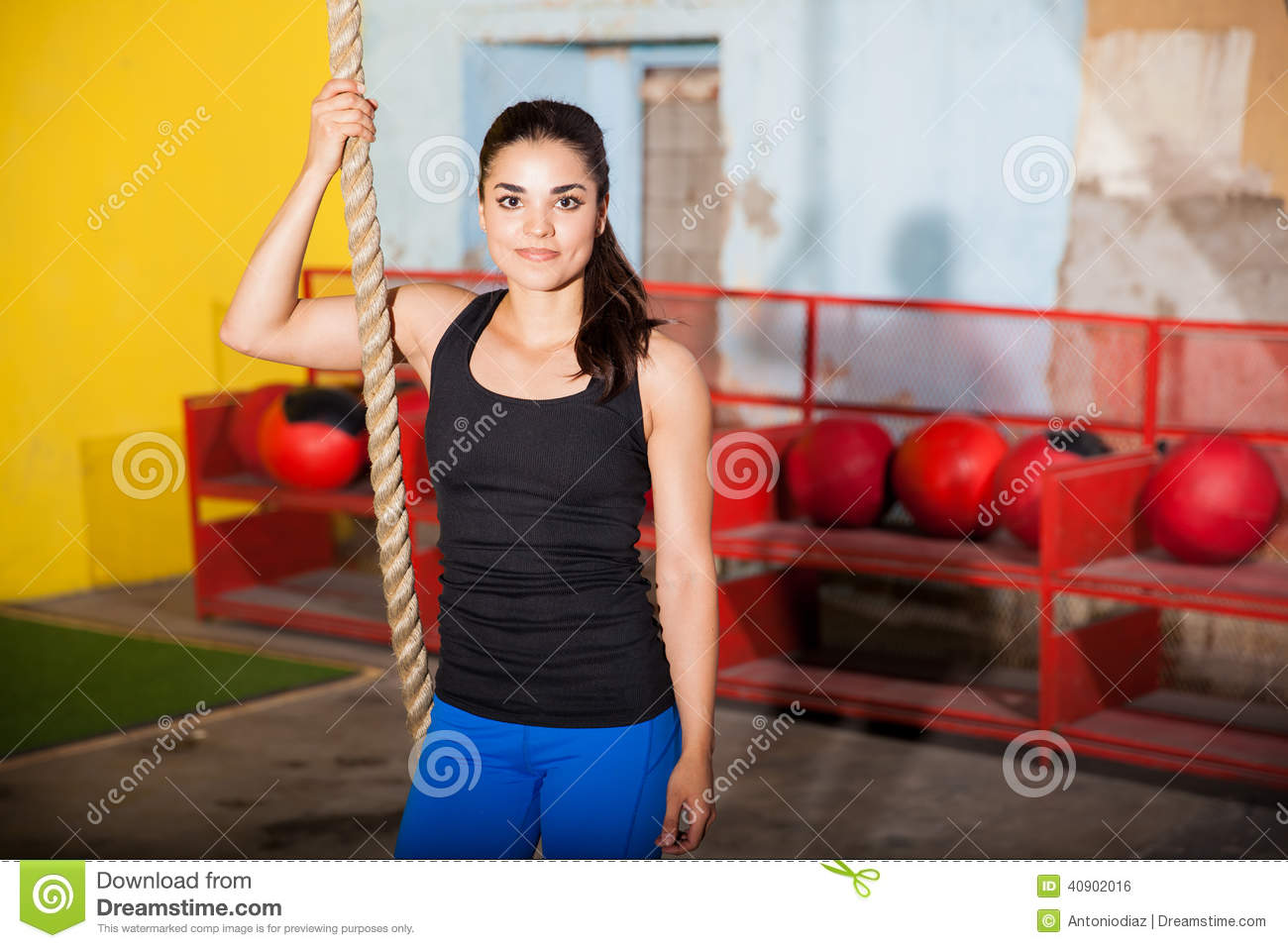 Enjoying her training in a gym