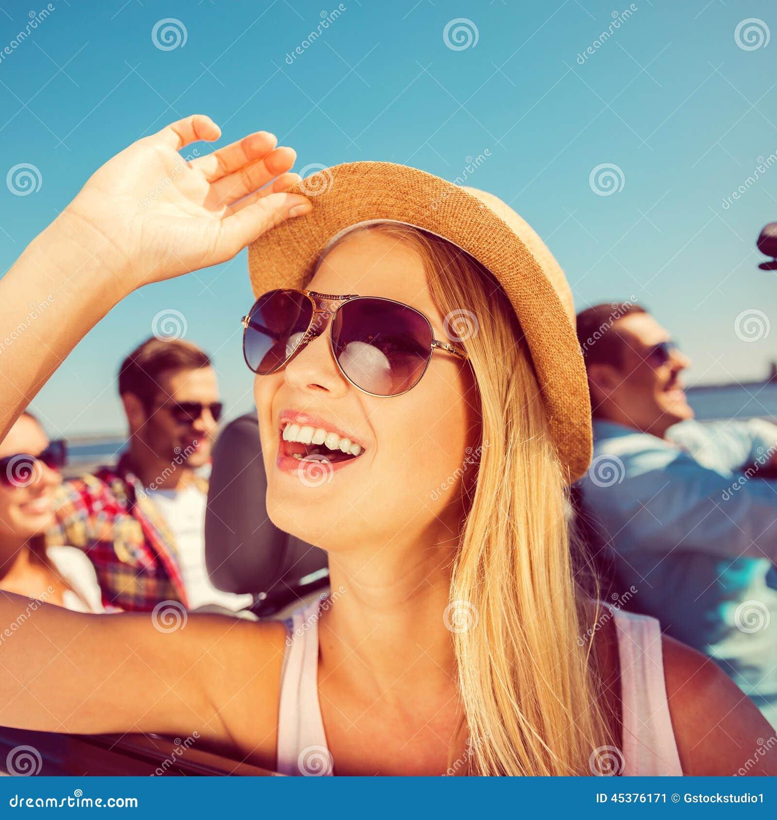 Happy Beautiful Woman Enjoying At Beach Stock Photo: Enjoying Her Trip. Stock Image. Image Of Adjusting