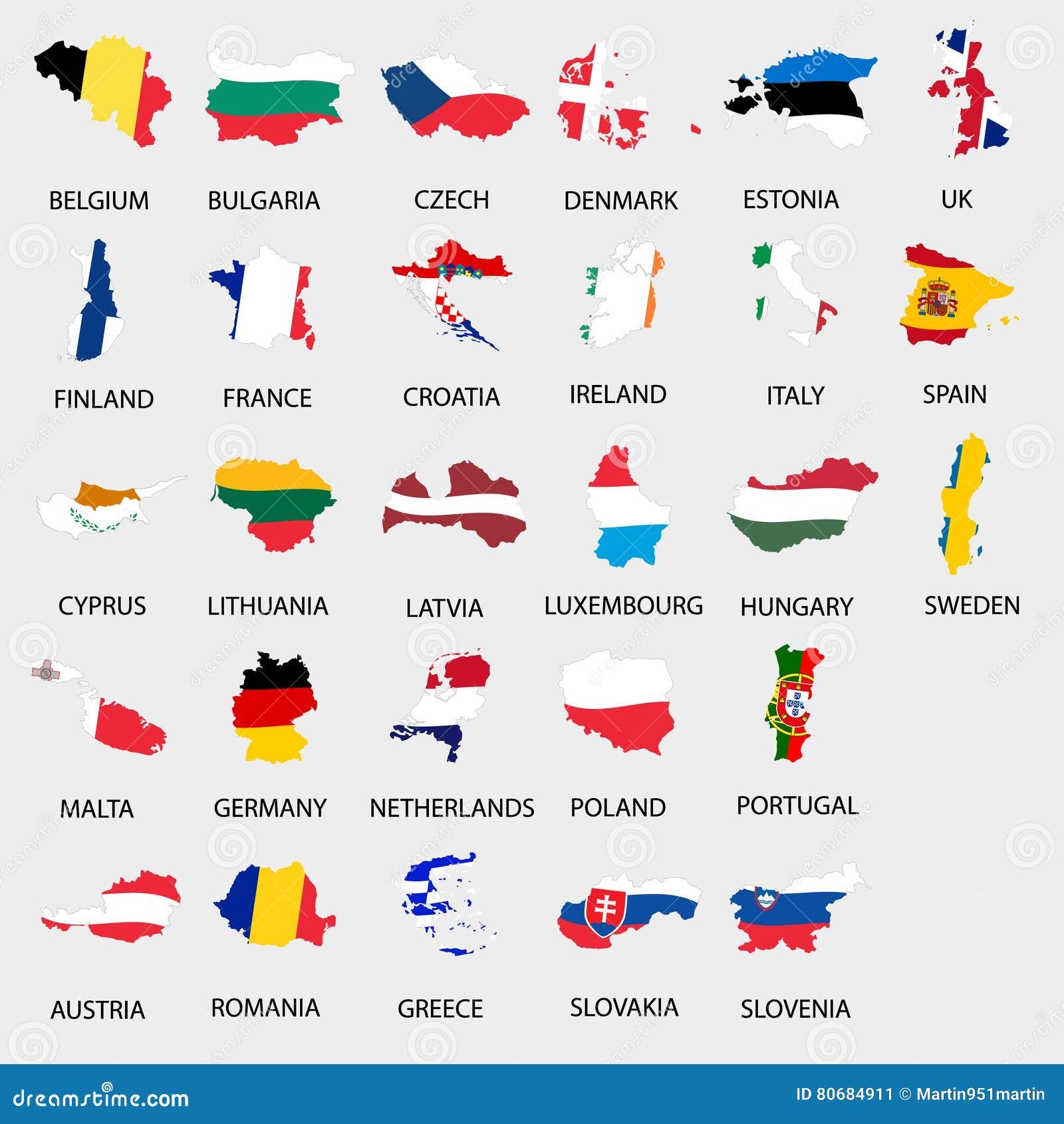 Enkel färg sjunker alla länder för europeisk union som översiktssamlingen eps10