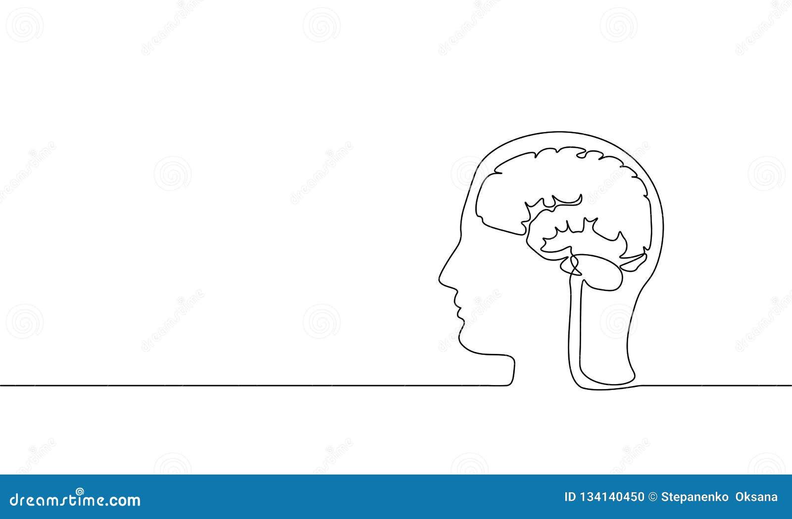 Enkel fortlöpande linje konst för hjärnvirtuell verklighet Moderna aktiva idérika idéer för meningsfantasidröm Mänskligt mentalt