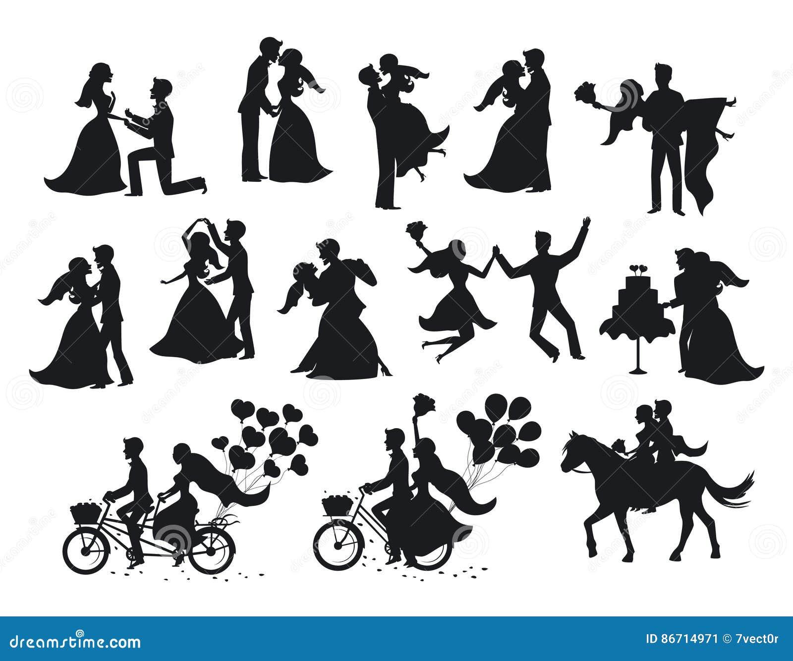 Enkel gehuwde, geplaatste jonggehuwden, bruid en bruidegomsilhouetten