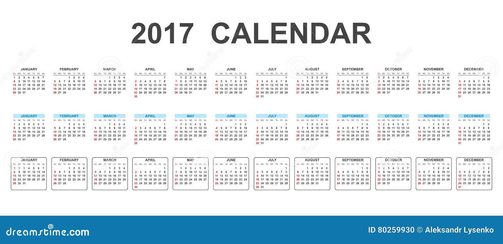 Enkel kalender 2017