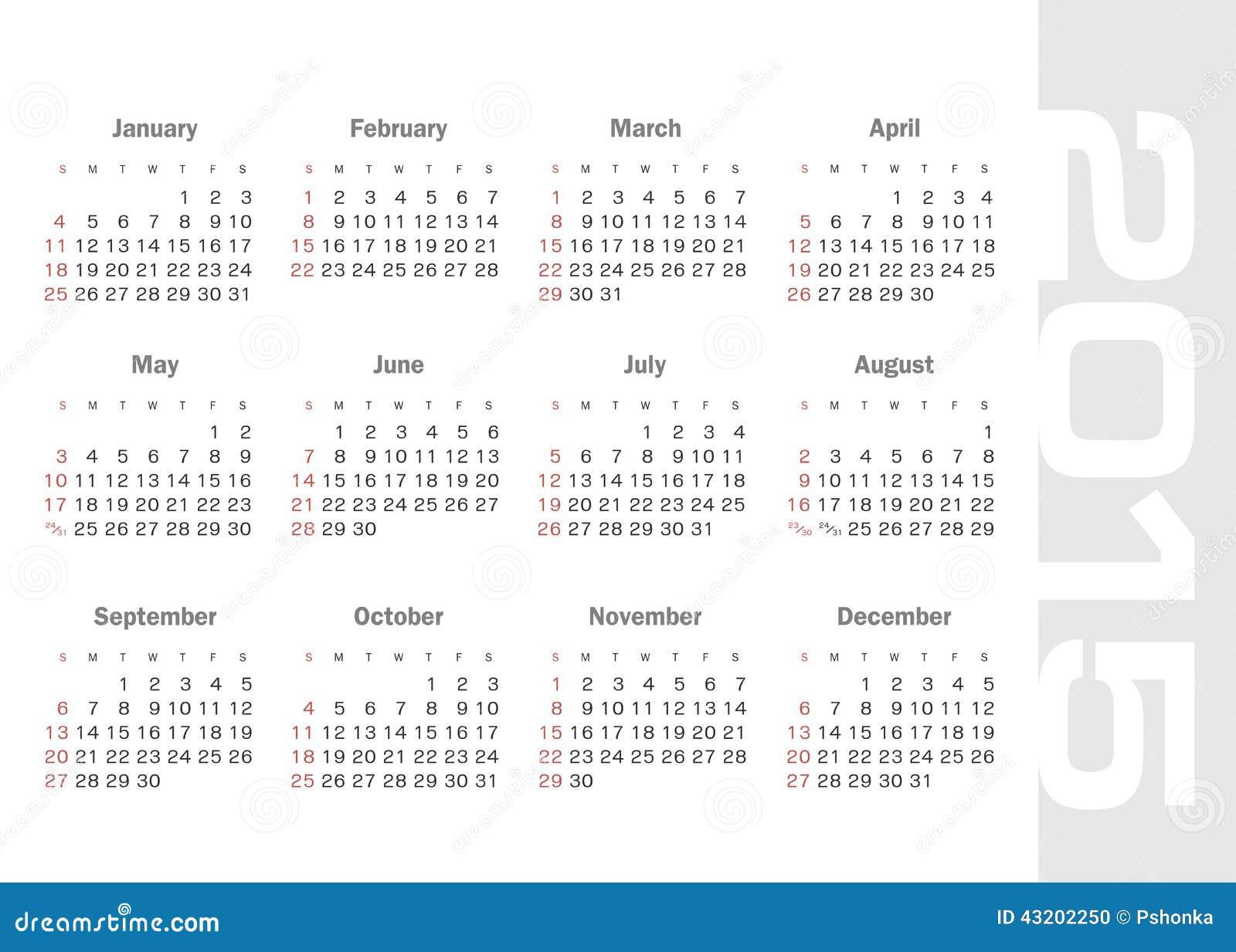 Download Enkel Kalender För 2015 år Vektor Vektor Illustrationer - Illustration av modernt, kontor: 43202250
