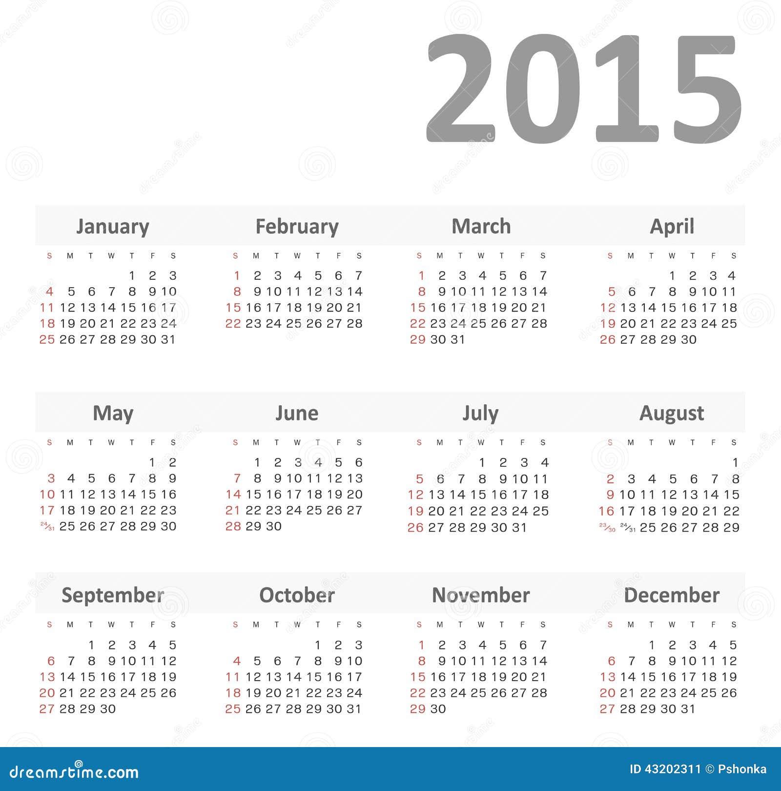 Download Enkel Kalender För 2015 år Vektor Vektor Illustrationer - Illustration av modernt, månad: 43202311