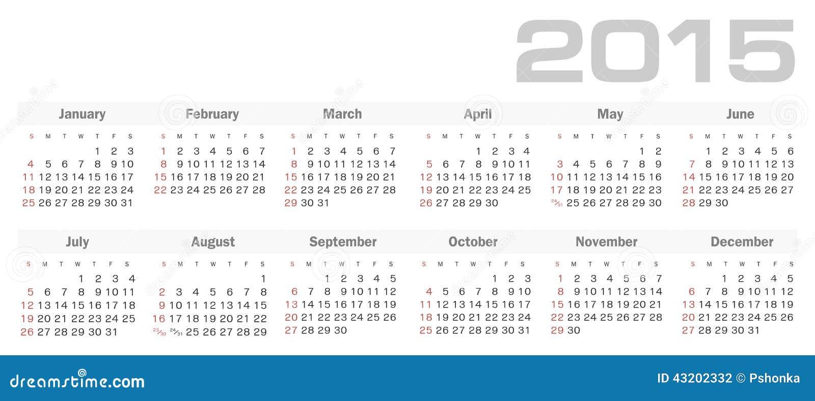 Download Enkel Kalender För 2015 år Vektor Vektor Illustrationer - Illustration av oktober, element: 43202332