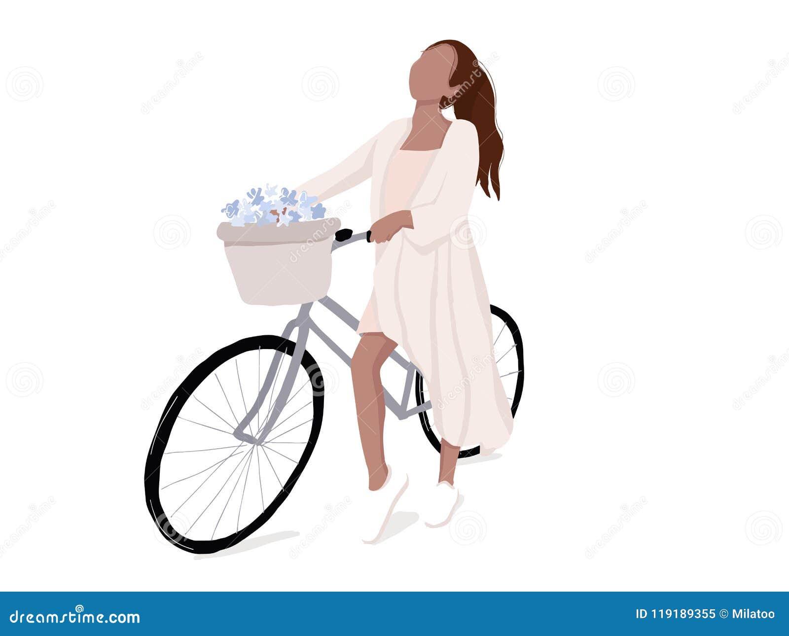 Enkel kvinna på cykelillustration Plan flicka på modern livsstilfritid för cykel stads- aktivitet Vektoraffärsföretag