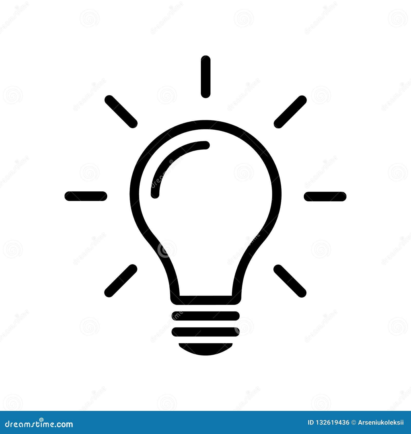 Enkel linje symbol som för ljus kula isoleras på bakgrund Idéteckenbegrepp