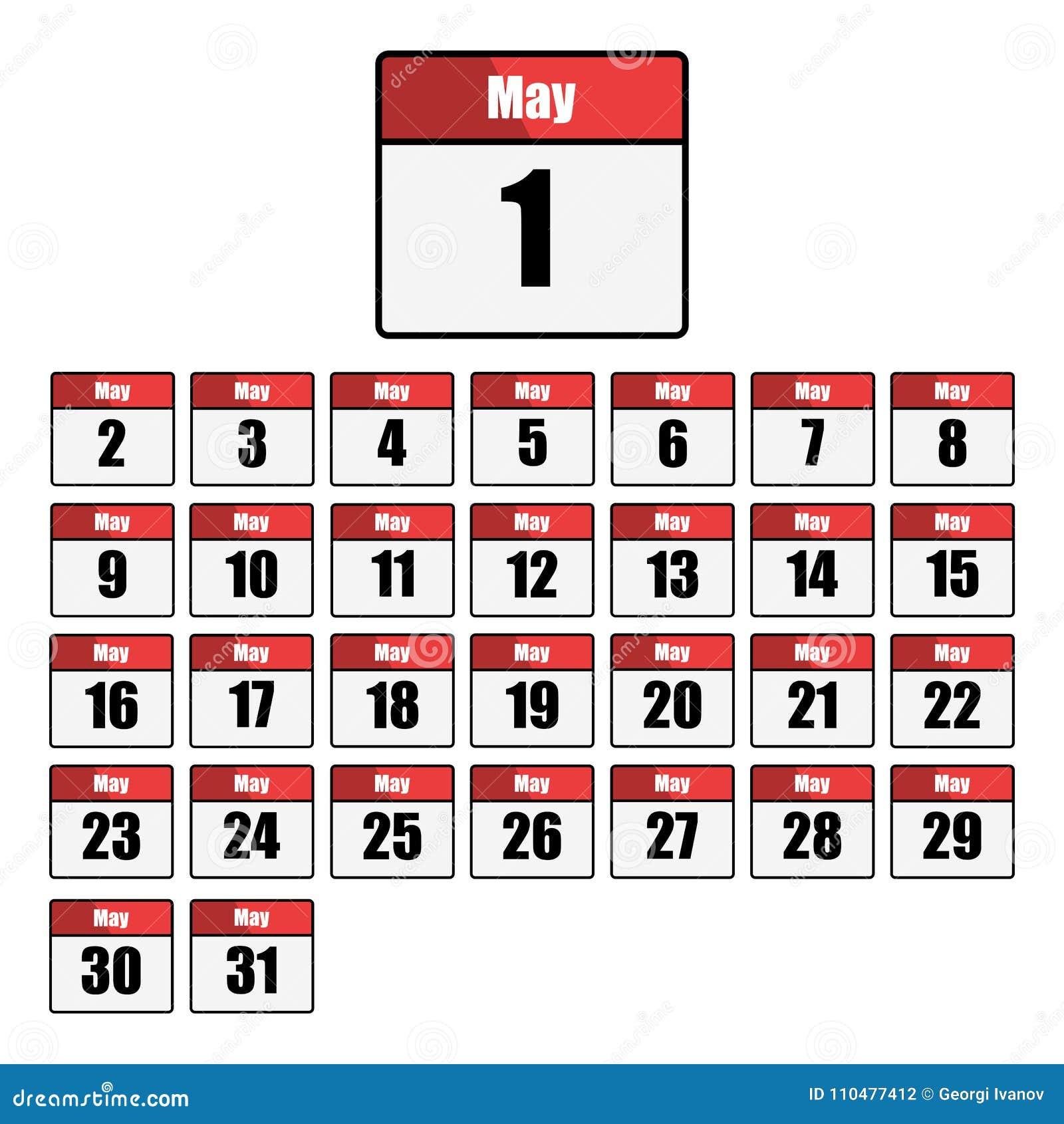 Enkel, plan, röd och vit kalendersymbolsuppsättning för månaden av Maj En för varje dag Isolerat på vit
