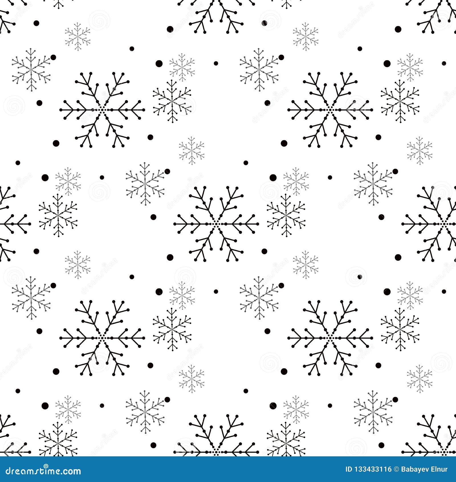 Enkel sömlös modell för snöflinga Svart snö på vit bakgrund Abstrakt tapet som slår in garnering Symbol av