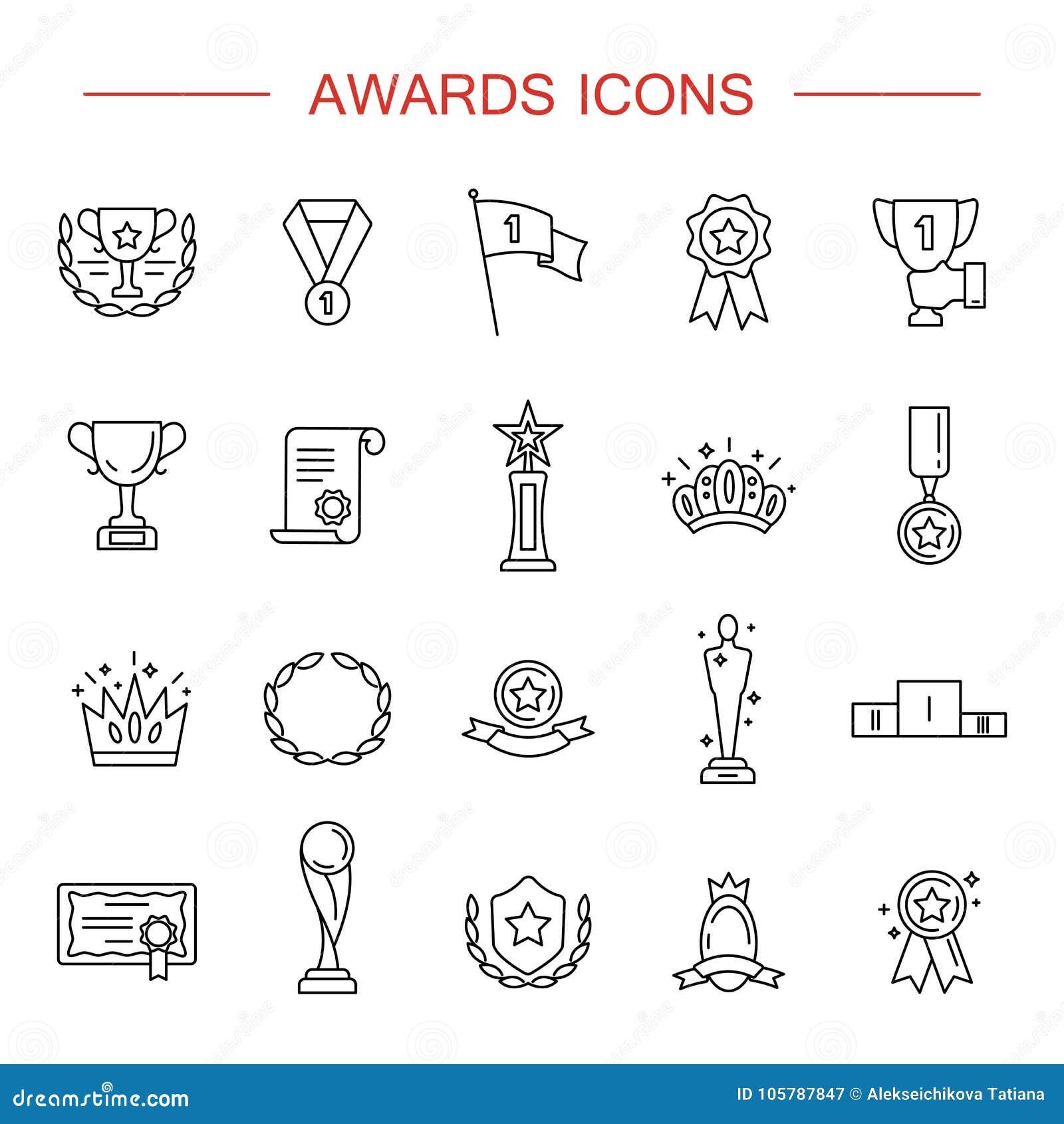 Enkel uppsättning av den utmärkelser släkta vektorlinjen symboler