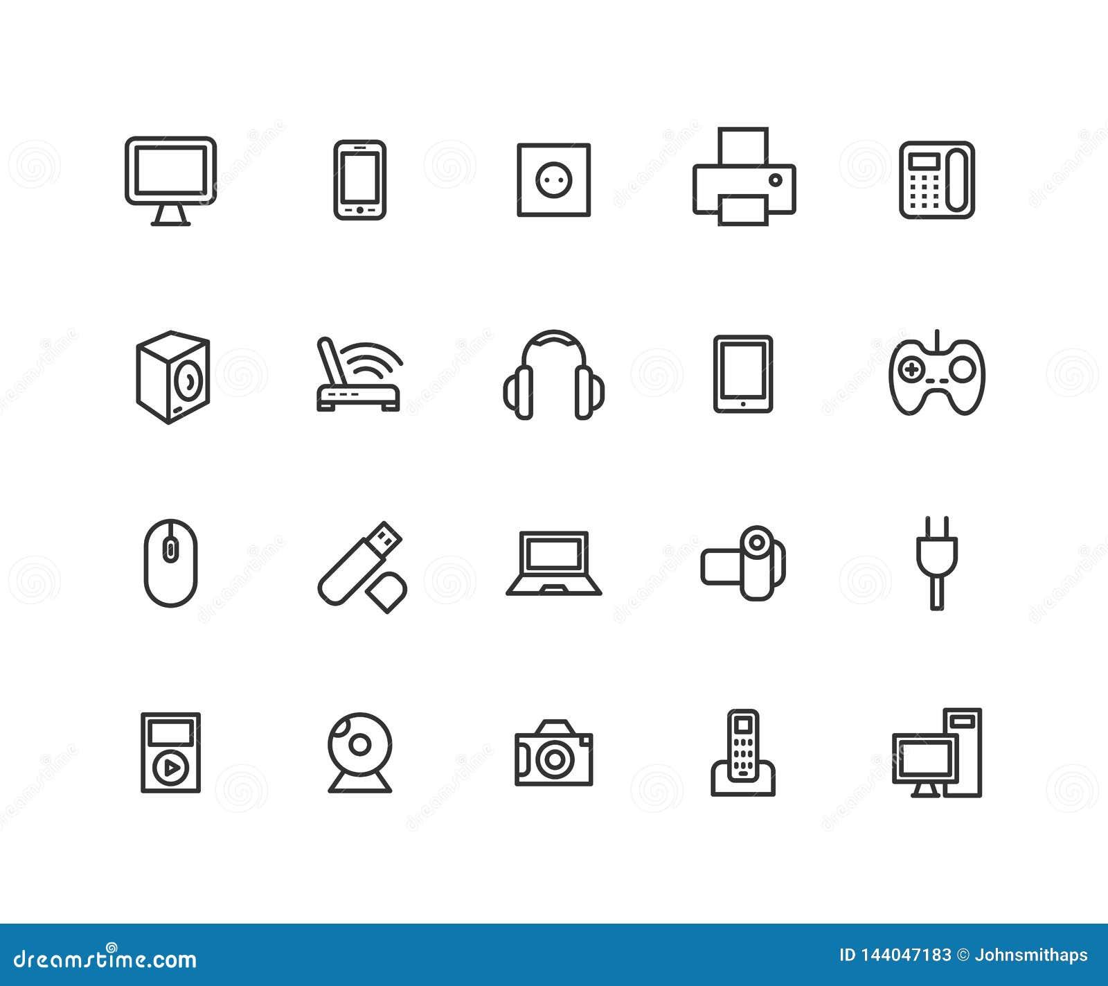 Enkel uppsättning av linjen symboler för vektor för konsumentelektronik Innehåller sådana symboler som kameran, LCD-bildskärmen,