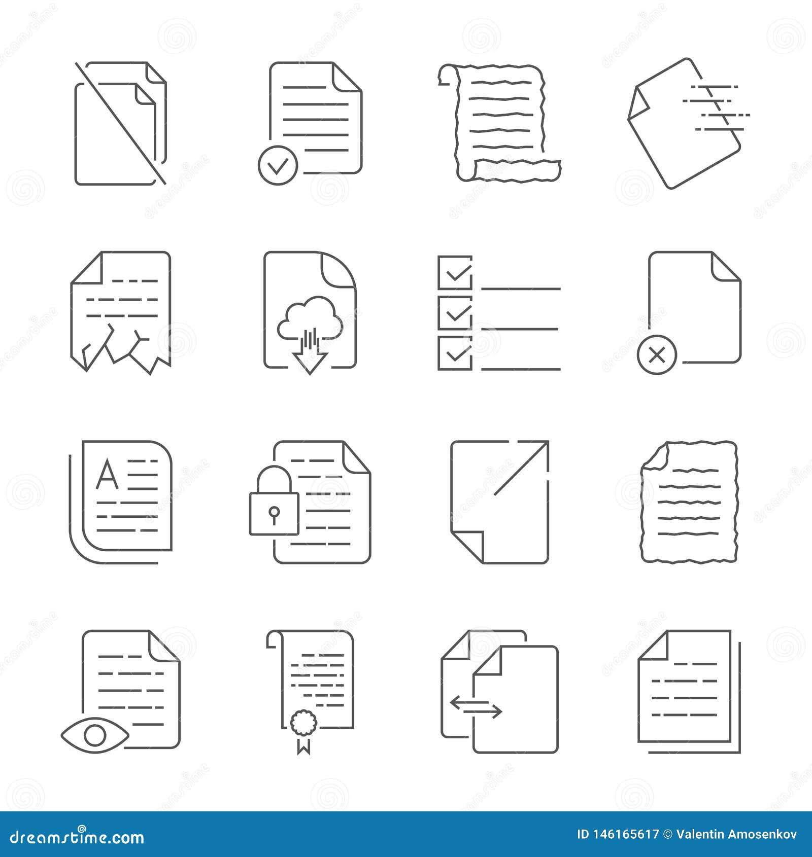 Enkel upps?ttning av vektorsymboler f?r fl?deskontroll av dokument Inneh?ller symboler liksom ett manuskript, en f?rd?rvad mapp,