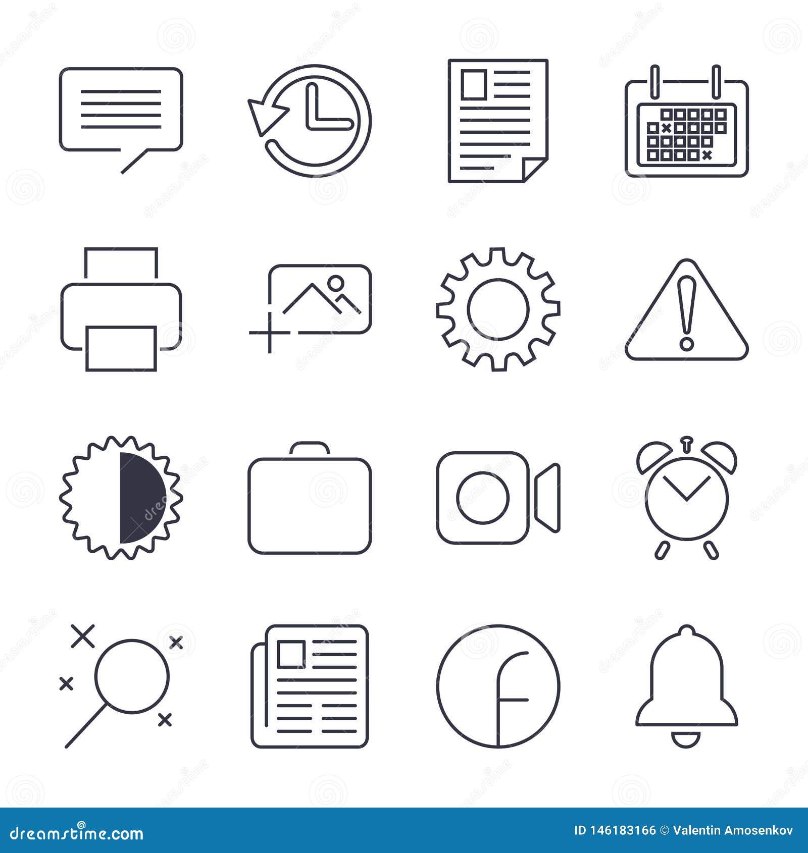 Enkel upps?ttning av den kontor sl?kta vektorlinjen symboler nContains sådana symboler som affärsmötet, arbetsplats, kontorsbyggn