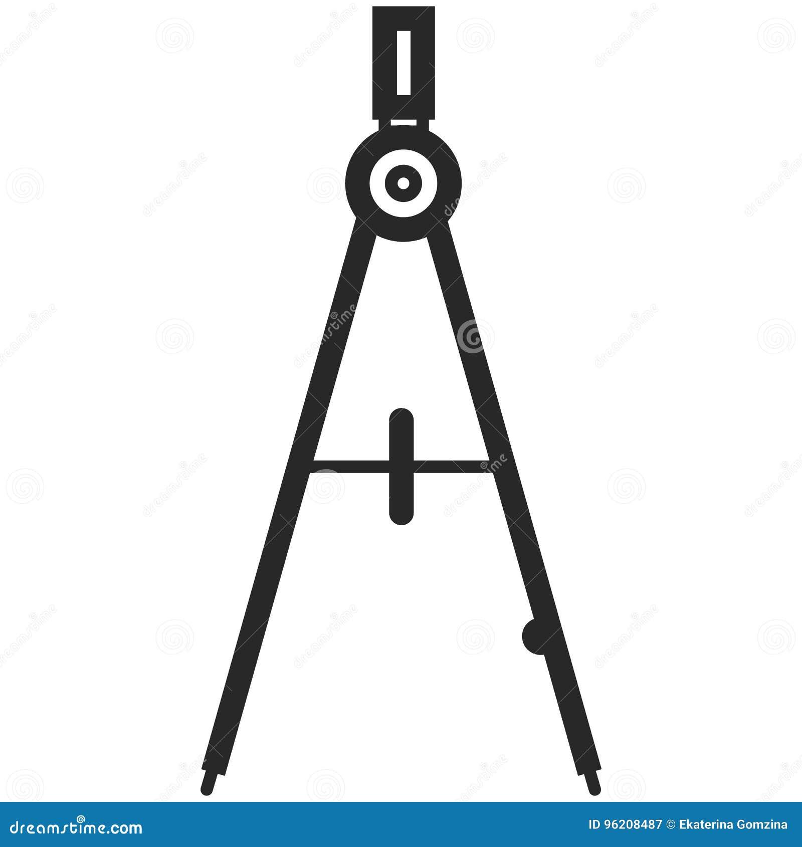 Enkel vektorsymbol av passare för en klassiker i linjen konststil Perfekt PIXEL Beståndsdel för grundläggande utbildning