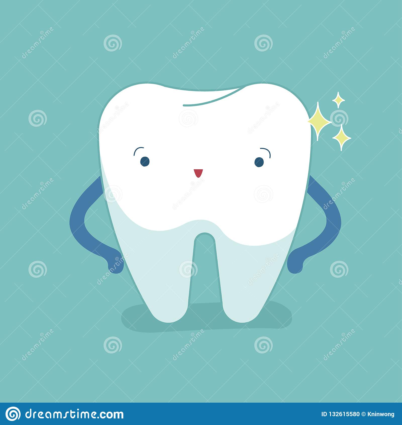 Enkel vit tand, sund tand, muntlig hygien, modern vektor