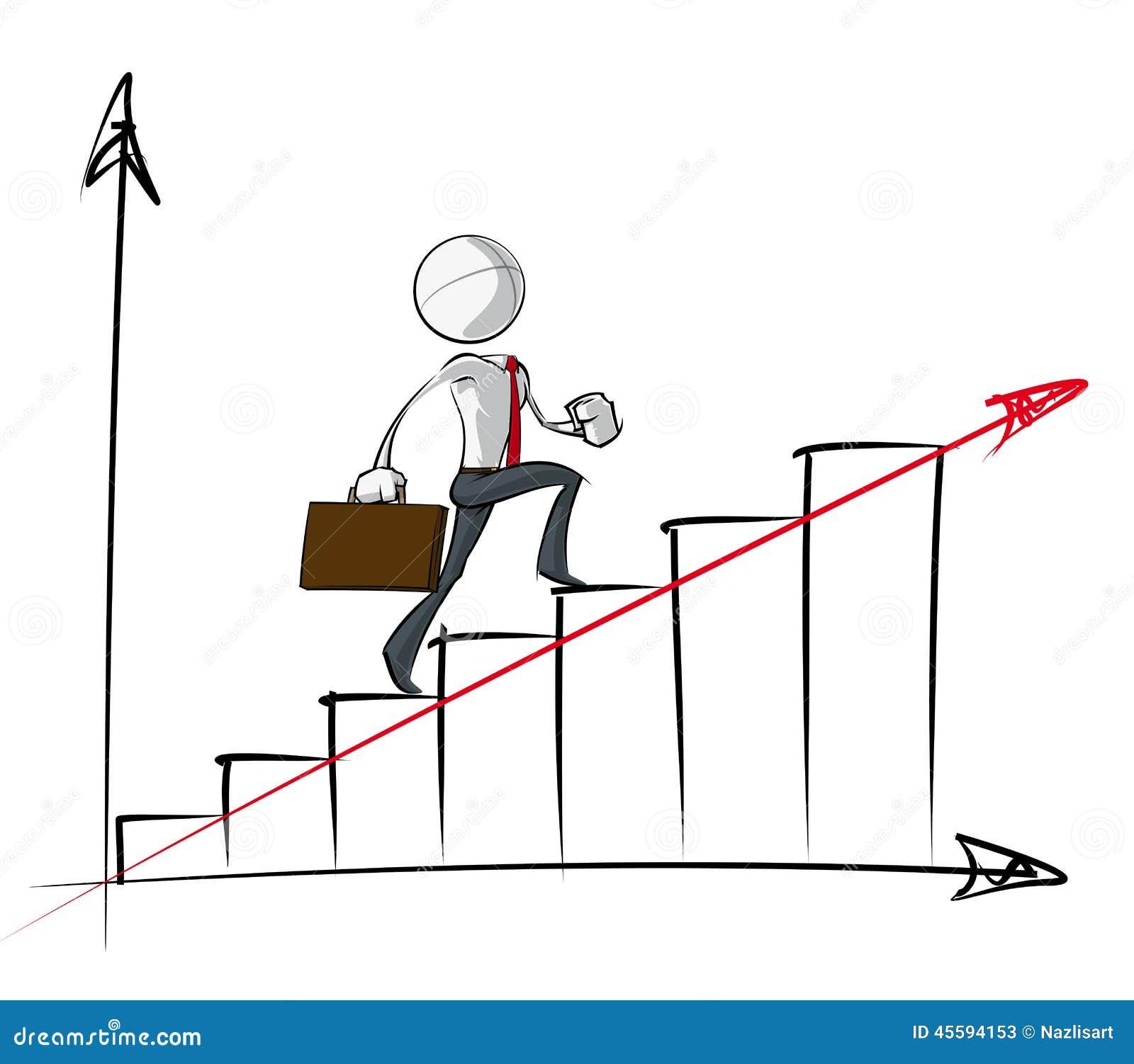 Enkelt affärsfolk - stadigt tillväxtdiagram