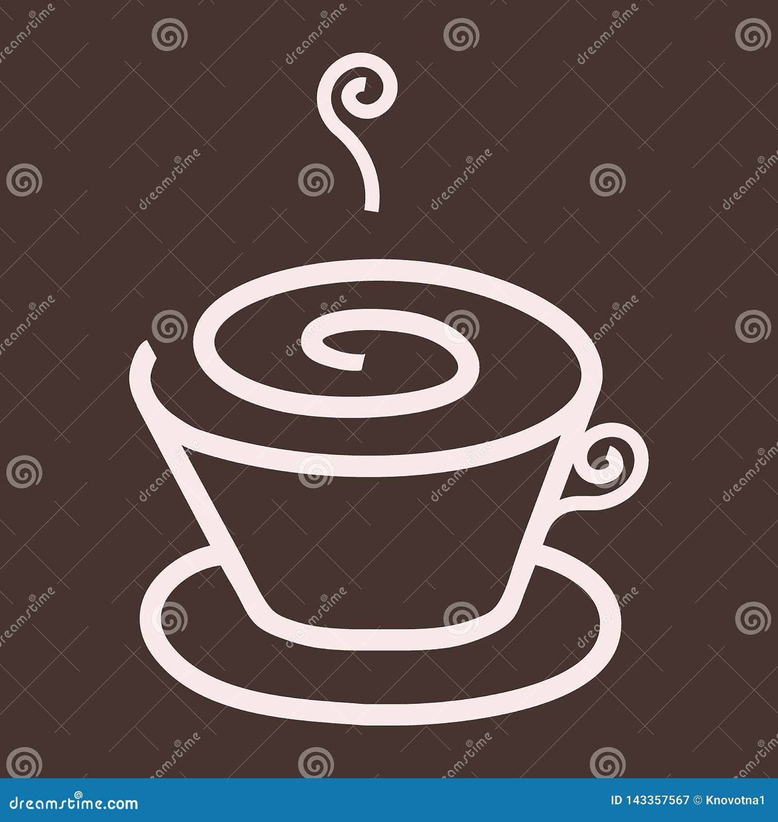 Enkelt cappuccino/kaffe/varm drinklogo, symbol