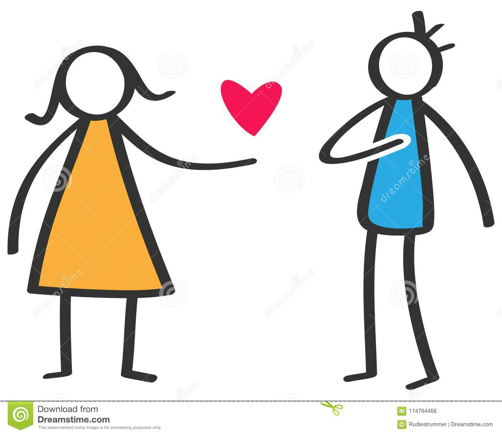 Enkelt färgrikt pinnediagram kvinna som ger förälskelse röd hjärta till den isolerade mannen på vit bakgrund, förklaring av föräl