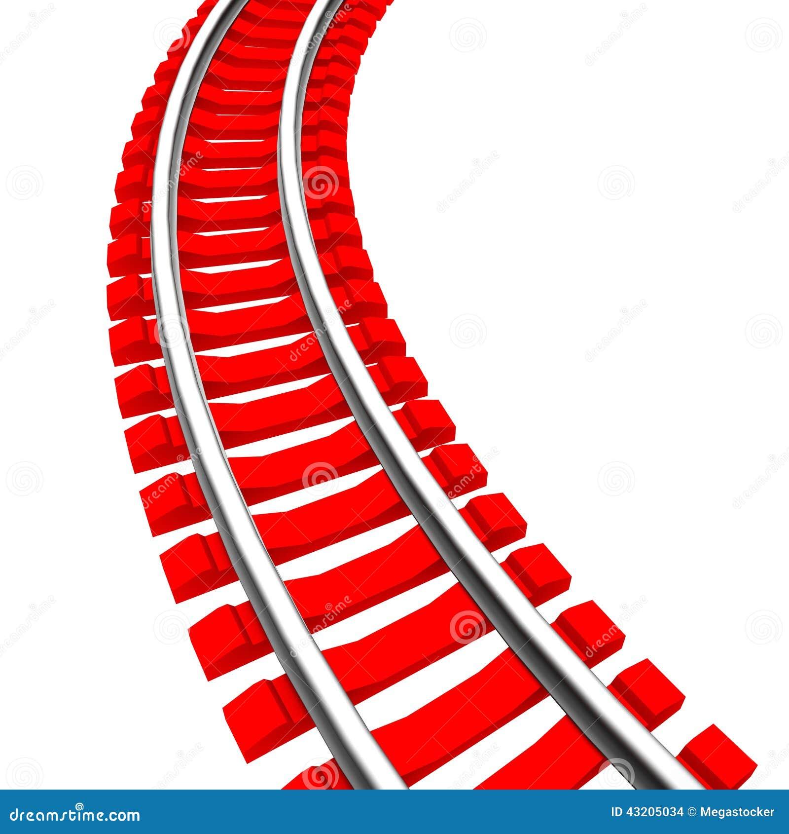 Download Enkelt Krökt Isolerat Järnvägspår Stock Illustrationer - Illustration av drev, stång: 43205034
